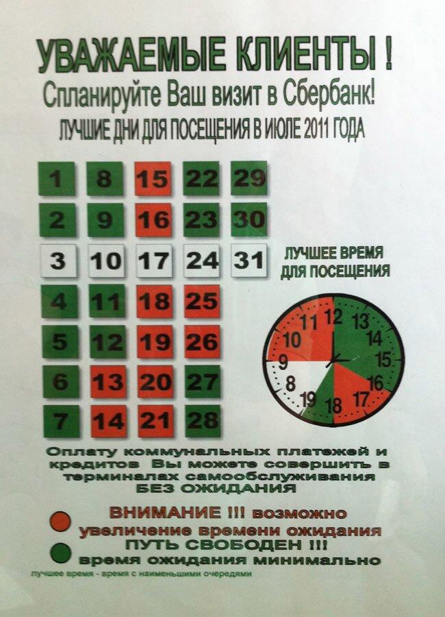 Календарь в Сбербанке
